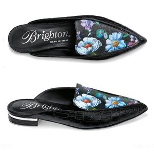 Brighton Floral Slip on Leather Everly Mules, 8